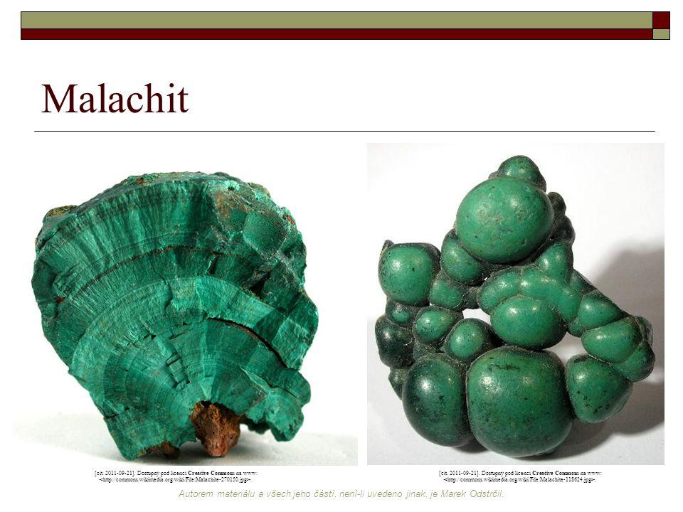 Malachit [cit. 2011-09-21]. Dostupný pod licencí Creative Commons na www: <http://commons.wikimedia.org/wiki/File:Malachite-270150.jpg>.